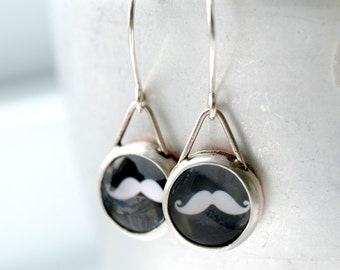 Moustache Earrings, Fun Jewelry, Trendy Jewelry, Silver Earrings, Bezel Earrings, Hipster Earrings, Black and White Earrings, MADE TO ORDER