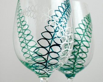 Fern Trio Glasses - Set of 2 Hand Painted Wine Glasses - Green, Teal and White Stemware