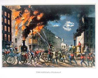 Currier and Ives Print - The Life of a Fireman - 1978 Large Vintage Book Page for framing