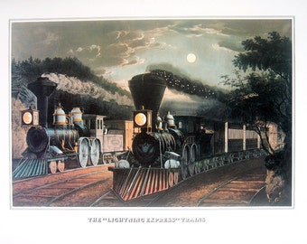 """Currier and Ives Print - The """"Lightning Express"""" Trains - 1978 Large Vintage Book Page for framing"""