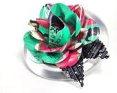 Recycled Jewelry Aqua AZ Ice Tea Rose Brooch