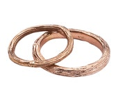 Rose Gold Wedding Band Ring Set -  Branch and Twig Design - 18K Recycled Gold - For Him and Her