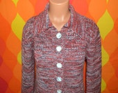vintage 70's cardigan sweater knit SPACE dye heathered red rust buttons Medium Large women preppy boho