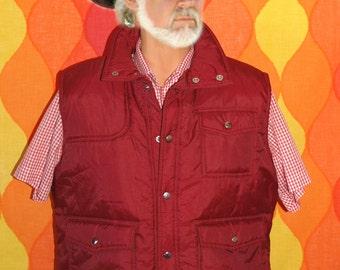 vintage 80s puffy SKI vest maroon quilted nylon western ski XL Large vegan