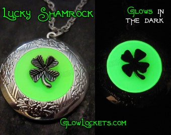 Lucky Shamrock Four 4 Leaf Clover Saint Patricks Day Glow Locket