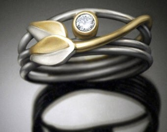 14k gold diamond engagement ring - Stone Blossom