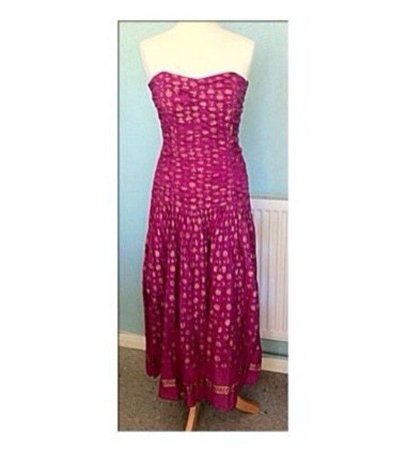 Vintage 1970s Boho Strapless Long Ankle Length Maxi Cotton Dress  Deep Pink with Gold Printed Pattern  Size Small