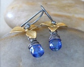 Oxidized Sterling Silver Earrings with Matte Gold Orchids and Wire Wrapped Cornflower Blue Kyanite Gemstones - Fleur // F139