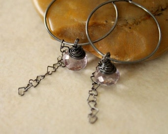 Oxidized Sterling Silver Hoop Heart Chain Earrings with Wire Wrapped Lavender Quartz Gemstones - Heart Strings // F006
