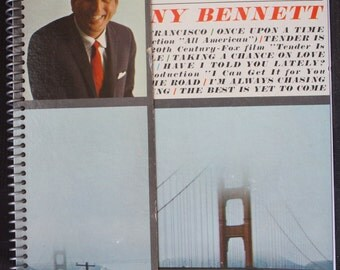 Tony Bennett Recycled Handmade Album Cover Spiral Notebook, Journal, Scrapbook, Diary, Sketchpad