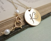 Personalized necklace, gold initial necklace, custom letter, large gold initial charm, hand stamped monogram necklace
