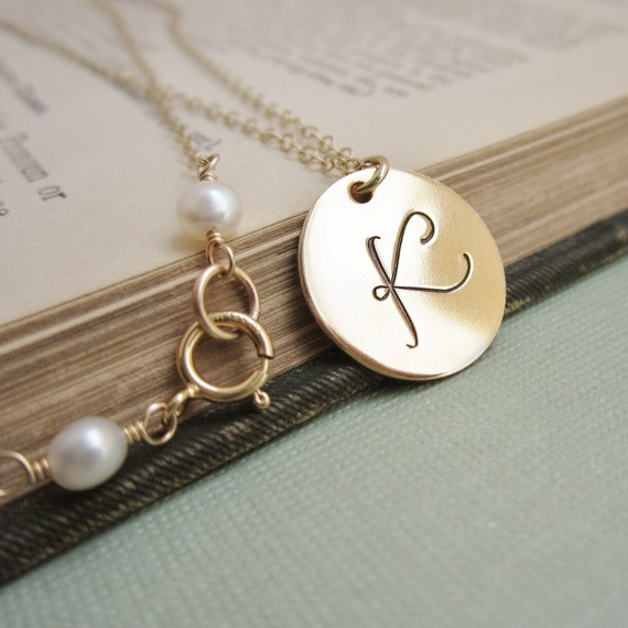 Personalized necklace gold initial necklace by kgarnerdesigns for Custom letter necklace gold