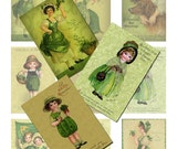 St. Patrick's Day Printable Tags Vintage Images Digital Collage Instant Download