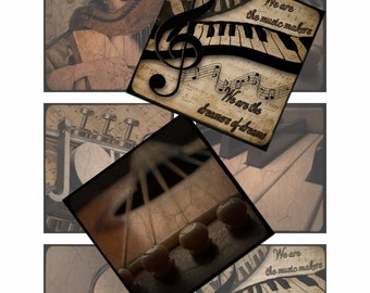 Music Lover 3 inch square designs for Photo art blocks Instant Download Printable Digital Collage Sheet