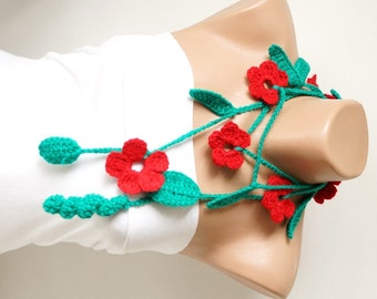 Spring,  Green Leaf and Red Flower Cotton Necklace, scarf, lariat