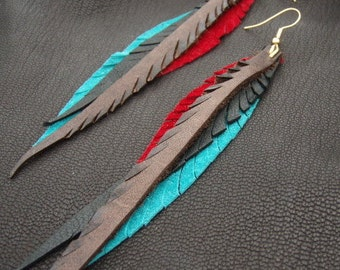 Leather Feather Earrings - red, teal, brown and black.