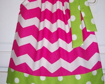SALE Pillowcase Dress Chevron Dress Hot Pink and Lime Green Watermelon Party baby dress toddler dress girls dress Easter Dress Spring Dress