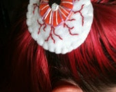 creepy eyeball hand sewn felt embroidered hair clip