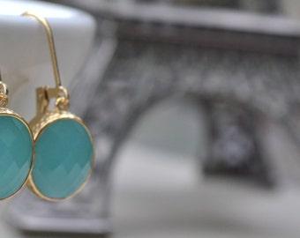 Seafoam Aqua Framed Glass Earrings, Gold Fill Lever Back, Aqua Glass Stone, Bridesmaid Earrings