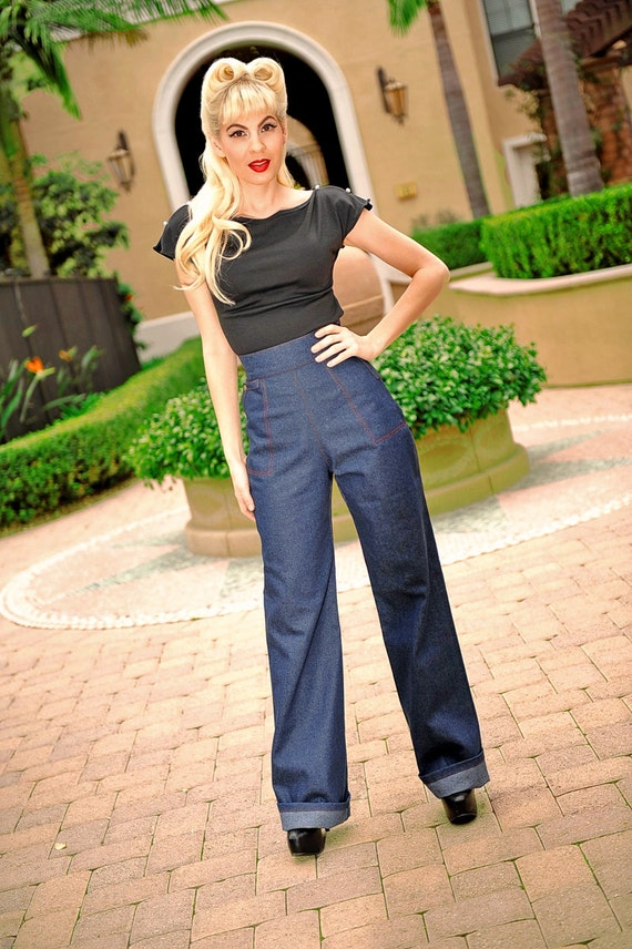 1950s style pants pinup capri high waist jeans. Black Bedroom Furniture Sets. Home Design Ideas
