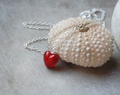 Heart Necklace, Red Heart, Murano Glass, Valentines Day, Gift for Her, Love, Mini Heart, Minimalist