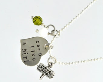 """Silver Plated Custom Hand Stamped Charm Necklace . """" Camp Like A Girl """""""