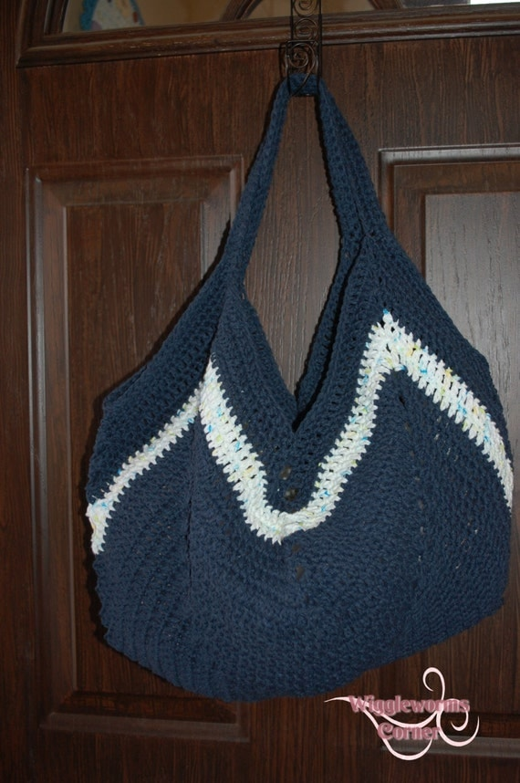 Items similar to Crocheted Granny Square Bottom Bag Grocery Bag Market ...