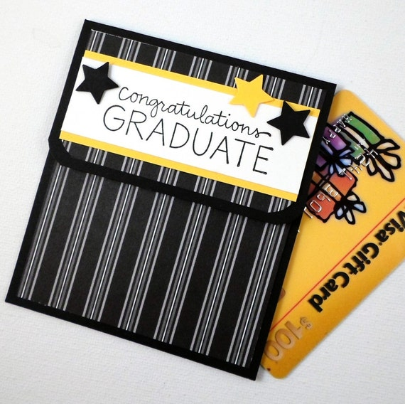 Graduation Gift Card Holder  - Graduation Money Card in Black and Yellow School Colors - Graduation Card - Congratulations Card