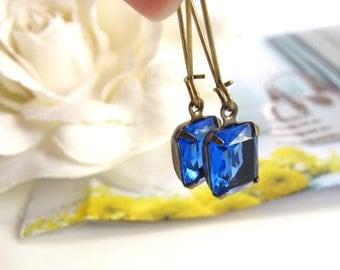Vintage Glass Earrings, Sapphire Blue Octagon Vintage Glass, Antique Brass Dangle Timeless Style Earrings