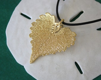 Real Leaf Necklace, Gold Cottonwood Leaf Necklace, 24kt Gold Pendant, Leaf Jewelry,Cottonwood Leaf, Mothers Day Gift, Bridesmaid Necklace,7