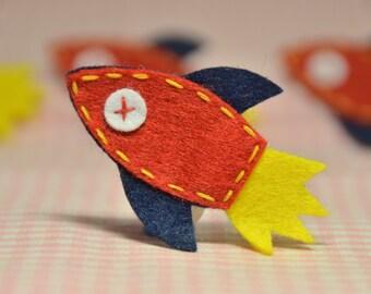 Set of 6pcs handmade felt rocket applique -- devil red  (FT940)