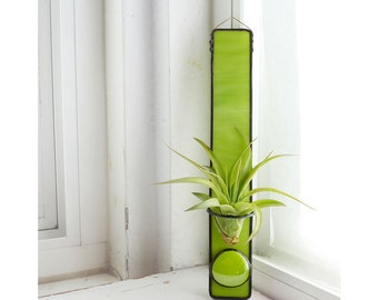 Stained Glass Air Plant Holder - Lime Green