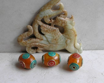 Copal Inlay Tibetan Beads- Tibetan Copal Resin Beads with Coral and Turquoise - Bead Collection For Beaded Jewelry Making