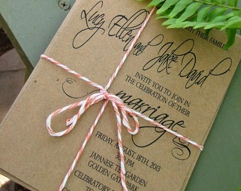 Recycled Wedding Invitations, romantic wedding swirl, simple wedding invites