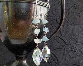 Vintage crystal and aquamarine earrings - sterling silver - aqua blue - aurora borealis - long beaded dangle - march birthstone - gemstone