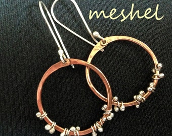 CLIMBING VINE 100% Hand Forged Mixed Metal Hoop Earrings in Sterling Silver and Copper