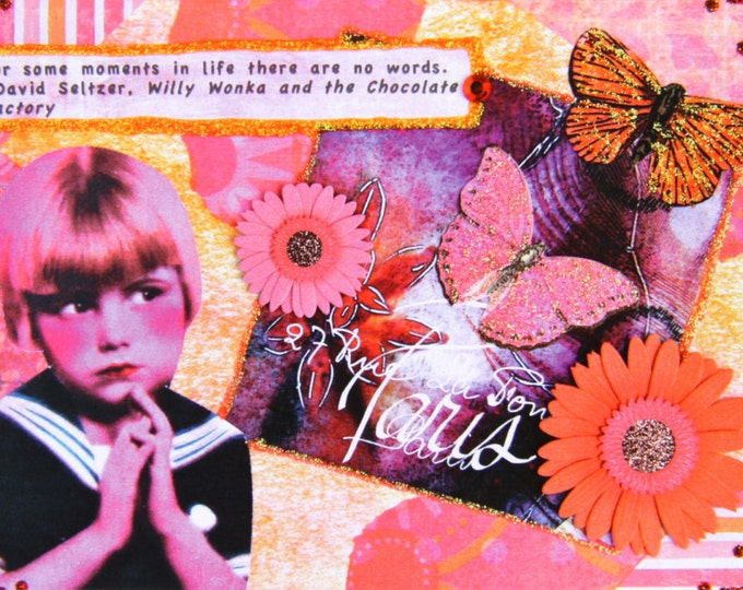 Handmade Collage Art Greeting Card Print, Size 5x7, Blank Inside, NO WORDS