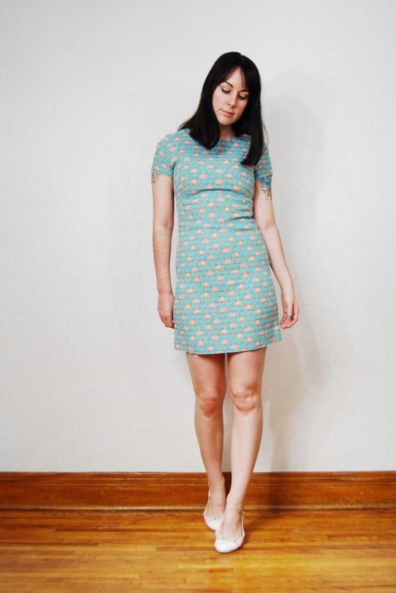 vintage 1960s / mod / floral / shift / tailored / Twiggy / mini dress / blue / XS-S