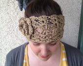 Crochet PATTERN Melanie Headwarmer lace and flower detail headband / ear warmer (adult size)