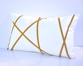 Natural white cotton lumbar pillow cover with stripes design