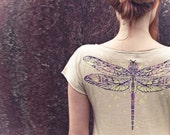 Women's Ivory Dragonfly Tee Original art of a detailed handpainted Dragonfly - Shovava