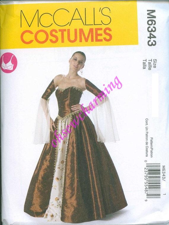 McCalls 6343 Renaissance Skirt Top Dress Goth Wedding GORGEOUS Sizes 6-8-10-12 Corset Top and Upper Sleeves