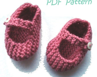 Knitting Pattern for Mary Jane Baby Shoes 0-3 months - PDF