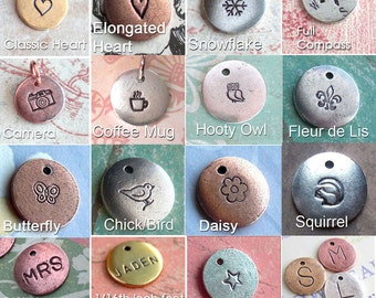 Lots of options - Customize your own little charm . Monograms, Couples, Initials, Cute . see photos for ideas . silver, copper, gold metal