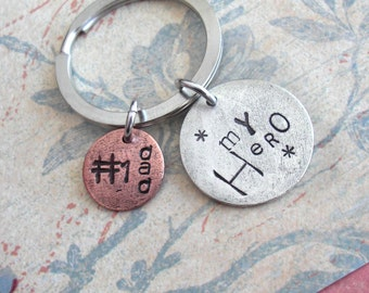 MY HERO .. Double Charm Keychain . GPS Coordinates & Mini Compass Hand Stamped . custom Lat/Long metal Copper, Silver, Gold . Father Veteran