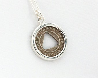 Denver Transit Token Sterling Silver Pendant and Necklace