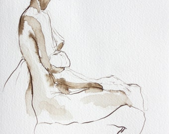 Figure Drawing - Shaundra Seated  - Ink on Paper