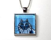 SALE/ Gray Cat Pendant in Silvertone Setting,  Blue Background