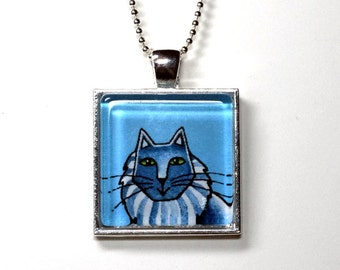 SALE/ Gray Cat Pendant in Silvertone Setting,  Blue Background