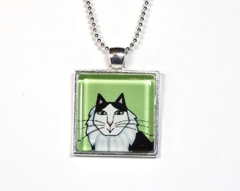 Cat Jewelry SALE... Black & White Persian Pendant in Spring Green
